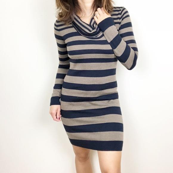 DressesBlack And Tan Neck Striped Cowl Sweater Poshmark Loft Dress qSUMpzV